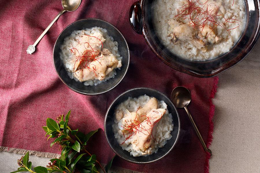 れんこんと生姜ジュースの参鶏湯風